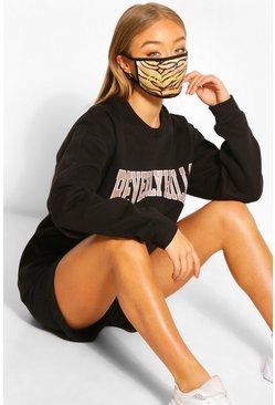 Woman Tiger Fashion Face Mask , Brown