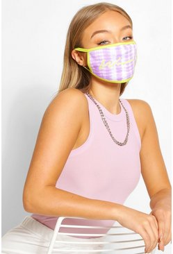 Lime Woman Fashion mask med batikmönster