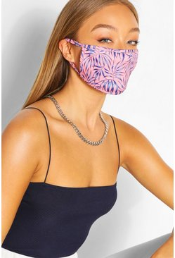 Pink Fashion mask med bladmönster