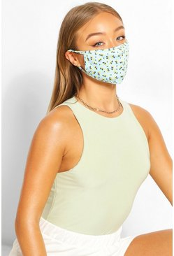 Ditsy Print Fashion Face Mask , Blue