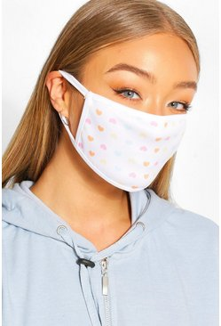 Rainbow Heart Fashion Face Mask , Multi