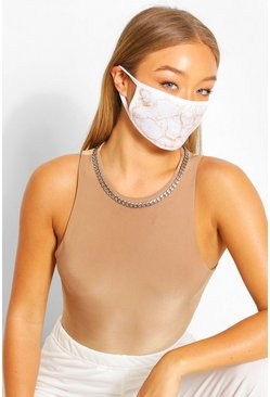 Marble Fashion Face Mask , White