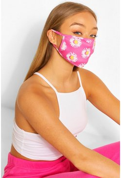 Pink Fashion mask med blommönster