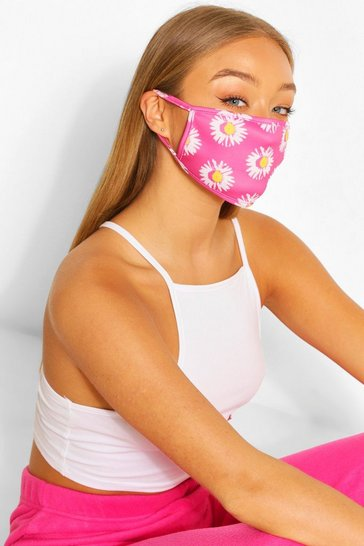 Pink Daisy Fashion Face Mask