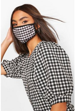 Check Fashion Face Mask, Black