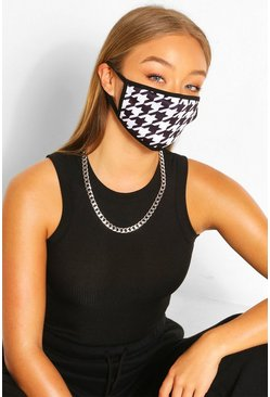 Dogtooth Fashion Face Mask , Black