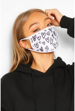 Heart Fashion Face Mask , White