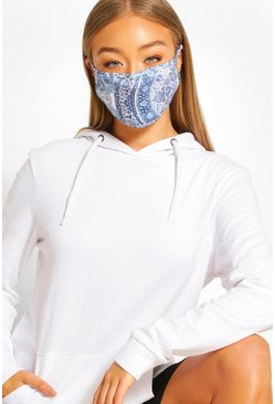 Blue Paisley Fashion Face Mask