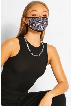 Leaf Fashion Face Mask, Black