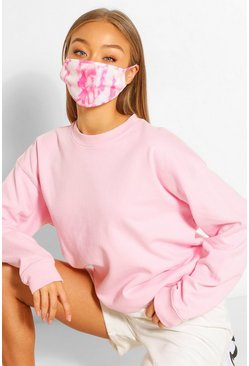 Tie Dye Fashion Face Mask, White