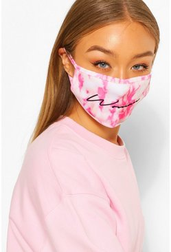 Woman Tie Dye Fashion Face Mask, White