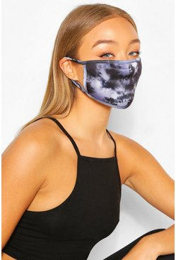 Mono Tie Dye Fashion Face Mask, Black