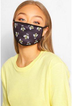Bee Fashion Face Mask , Black