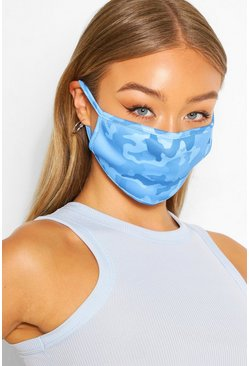 Blue Fashion mask med kamouflagemönster
