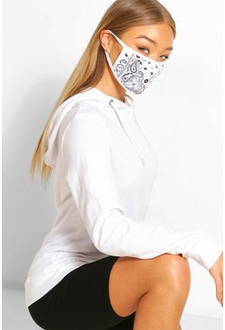 Paisley Fashion Face Mask , White