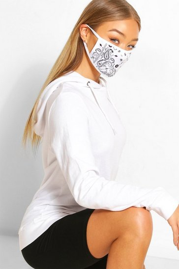 White Paisley Fashion Face Mask