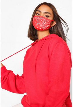 Paisley Fashion Face Mask , Red