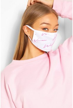 Woman Script Fashion Face Mask , White