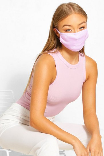 Lilac Woman Script Fashion Face Mask