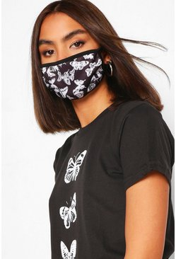 Butterfly Fashion Face Mask , Black