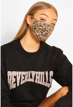 Ditsy Print Fashion Face Mask , Natural