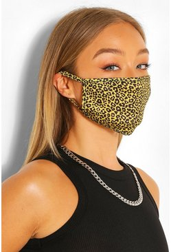 Mini Leopard Fashion Face Mask , Yellow
