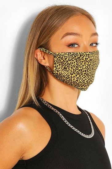 Yellow Mini Leopard Fashion Face Mask