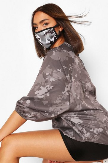 Black Mono Camo Fashion Face Mask