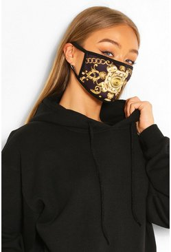 Chain Print Fashion Face Mask, Gold