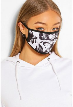 White Mono Floral Fashion Face Mask