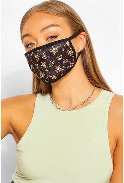 Ditsy Print Fashion Face Mask, Black