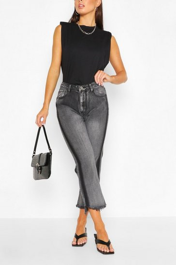 Black Cropped Fray Hem Washed Mom Jean