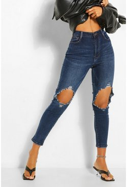Knee Rip Distressed Skinny Jean , Blue