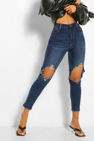 Blue Knee Rip Distressed Skinny Jean
