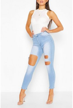 Side Stripe Fray Hem Skinny Jean , Light blue