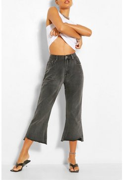 Split Hem Straight Leg Jean , Grey