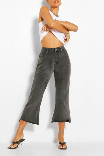 Grey Cropped Flare Jean
