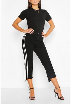 Side Stripe Fray Hem Skiny Jean , Black