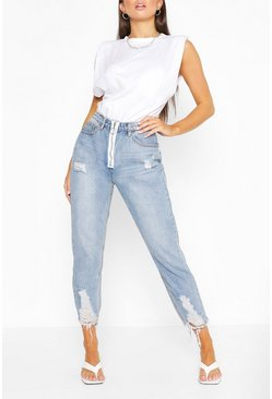 Mid blue Ripped Fray Hem Straight Leg Jean