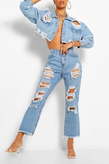 Light blue Rip Straight Leg Jean