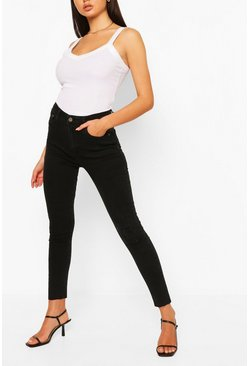 Black Denim Distressed Knee Rib Skinny Jean