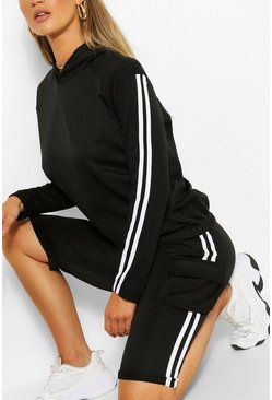 SIDE STRIPE HOODY AND SHORTS TRACKSUIT, Black