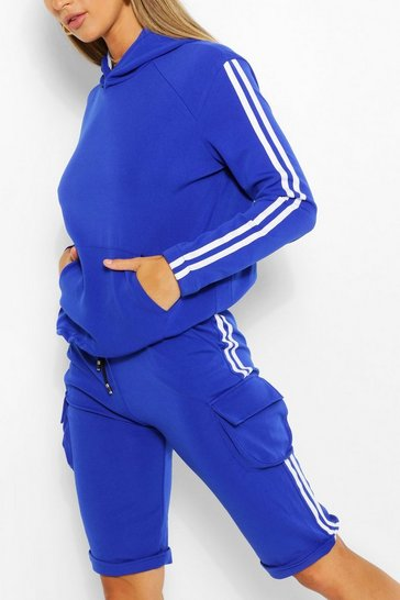 Blue SIDE STRIPE HOODY AND SHORTS TRACKSUIT