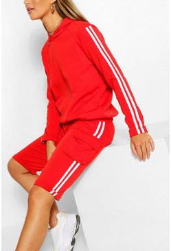 SIDE STRIPE HOODY AND SHORTS TRACKSUIT, Red