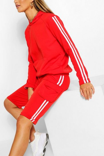 Red SIDE STRIPE HOODY AND SHORTS TRACKSUIT