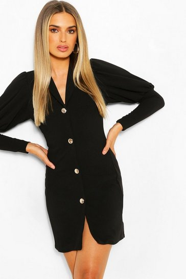 Black Puff Sleeve Double Breasted Blazer Dress