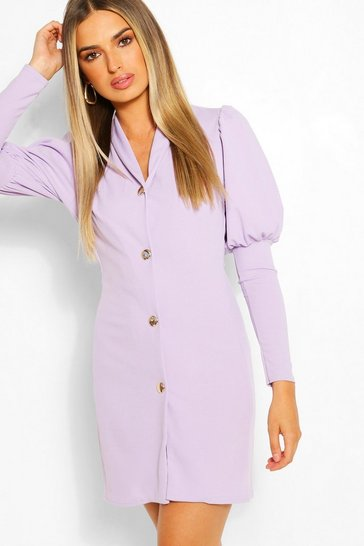 Lilac Puff Sleeve Double Breasted Blazer Dress
