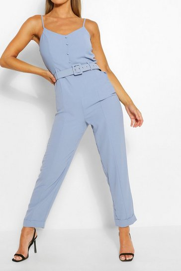 Cornflower blue Cami Strap Belted Turn Up Hem Jumpsuit