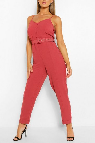 Dusty rose Cami Strap Belted Turn Up Hem Jumpsuit