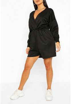 Black Wrap Front Long Sleeve Loopback Sweat Playsuit